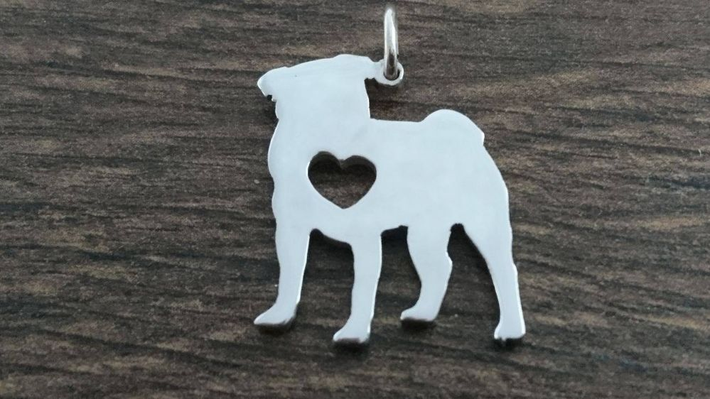 Pug dog with heart Charm silhouette solid sterling silver Handmade in the Uk